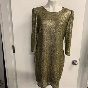 NWT: DKNY gold sequin party dress